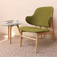 北欧家具简约日式休闲椅软包靠背扶手椅实木餐椅小户型