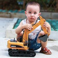 合金挖土机工程车儿童玩具遥控车15通道遥控挖掘机无线