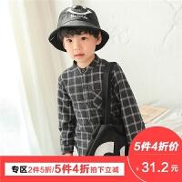 男童衬衫长袖2017冬季新款韩版儿童打底衬衣立领加绒加厚格子冬装
