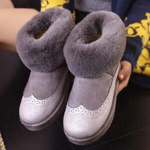 O'SHELL法国欧希尔新品冬季165-1916韩版磨砂绒面平跟女士雪地靴