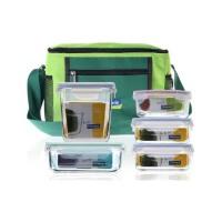 三光云彩glasslock钢化玻璃饭盒保鲜盒便当盒微波炉饭盒五件套装GL38
