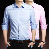 春季商务正装长袖衬衫男白领男士大码休闲寸衫韩版修身纯色衬衣潮