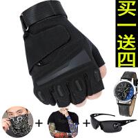 特种兵战术手套春夏户外半指手套男运动训练保暖登山防滑耐磨手套 黑色(送眼镜 头 巾 袖套 手表)