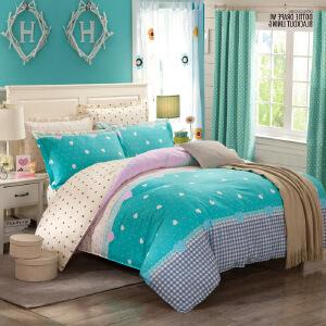 OLYI 全棉床上用品 四件套 斜纹活性印花床单式家纺四件套 床品四件套小清新蓝 床上四件套