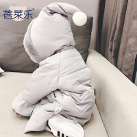 婴儿衣服冬季0岁6个月宝宝连帽上衣新生儿童外套加厚冬装