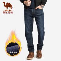 骆驼男装 秋冬新款商务休闲男士长裤加绒保暖直筒牛仔裤男
