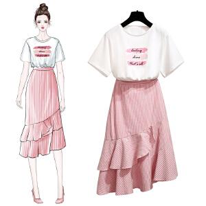 【超值两件套装】【多款式可选】网红连衣裙女2018新款纯棉T恤网纱裙超仙半身裙小清新bf套装女夏两件套