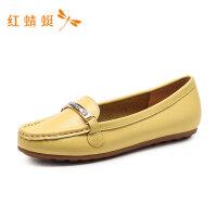 红蜻蜓女鞋春夏季新款平底韩版纯色时尚百搭舒适一脚蹬女单鞋-
