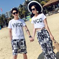 沙滩情侣装夏装2018新款宽松蜜月度假海边休闲套装海滩短袖T恤衫