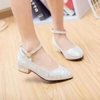 韩版小女孩公主鞋白色童鞋女童皮鞋礼服舞蹈鞋高跟鞋儿童单鞋