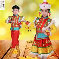 新款儿童少数民族演出服男孩女孩蒙古族藏族舞蹈表演服饰