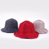 可折叠保暖帽子盆帽潮渔夫帽女日系文艺百搭韩版少女针织帽