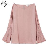 Lily春夏新款女装喇叭袖纯色圆领宽松露肩雪纺衫118230C8546