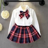 儿童装女童韩版时尚长袖白色衬衫短裙套装2018春装新款潮衣O C209