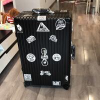 铝框拉杆箱万向轮女20登机箱24行李箱26旅行箱28英寸箱子男 黑色 款