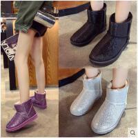亮片女士雪地靴女冬季新款韩版厚底防水加绒加厚棉鞋短筒靴子