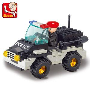 【当当自营】小鲁班防暴特警系列儿童益智拼装积木玩具 特警吉普车M38-B800