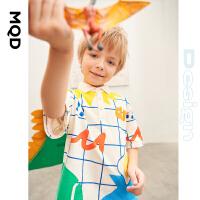 MQD童装设计师系列男童短袖polo21夏新款儿童格纹满版T恤上衣
