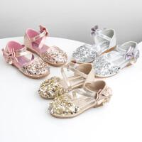 春夏女童鞋子亮片包头女童凉鞋公主鞋儿童单鞋软底宝宝鞋