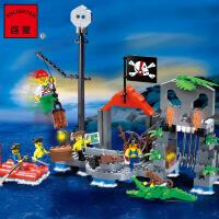 启蒙积木朔料组装模型6岁-12岁儿童益智玩具海盗系列骷髅水寨309