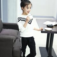 童装女童秋装套装2018新款两件套儿童春秋运动装韩版时尚潮衣服女 白衣黑裤