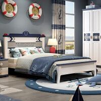 地中海床单人床125米实木青少年卧室房家具组合套餐 1200mm*1900mm 不带