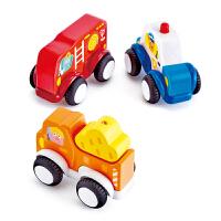 Hape城市交通回力车2-6岁情景模拟3件套婴幼玩具木制玩具