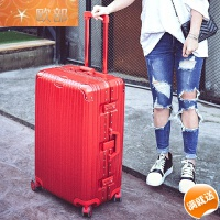 铝框拉杆箱PC海关锁行李箱万向轮20寸24寸26寸29寸男女托运箱硬箱 炫酷镜面 中国红