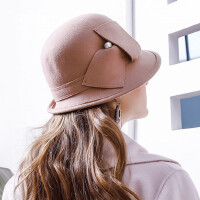 英伦风澳洲羊毛毡帽休闲毛呢帽小礼帽女士时尚帽子女