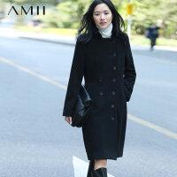 【券后价:100】Amii[极简主义]纯色双排扣羊毛大衣中长款毛呢外套女11572123