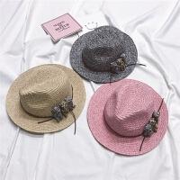 mini旦女童帽子礼帽沙滩帽草帽遮阳帽太阳帽宝宝儿童凉帽防晒帽