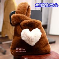 秋冬爱心草兔毛包女毛毛包包手拎包手提包斜挎背心包