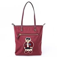小熊包包女包手提单肩百搭休闲维尼大包可爱卡通帆布学生新款 酒红色