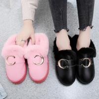 韩版室内家居家用保暖厚底防滑皮拖鞋防水棉拖鞋女半包跟