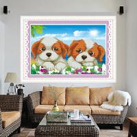 新品钻石画5D十字绣粘贴魔方圆钻 两只小狗 可爱小伙伴 儿童益智客厅卧室走廊小幅新款