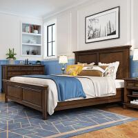 美式全实木床主卧双人床1.8米卧室1.5米大床婚床简约乡村轻奢家具 1800mm*2000mm 气压结构
