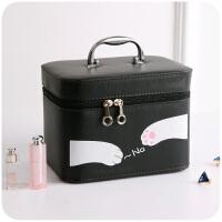 卡通大容量化妆包可爱小号便携韩版手提化妆品箱大号收纳盒小方包 金属手提-黑色猫爪小号