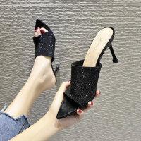 新款简约一字优雅高跟细跟懒人拖鞋外穿尖头鱼嘴凉拖鞋女