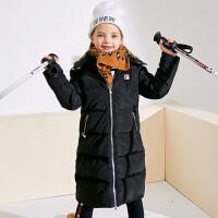 小猪班纳女童羽绒服中大童儿童连帽毛绒高领外套厚新款