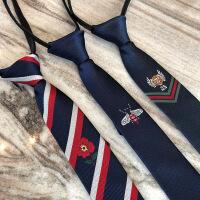小蜜蜂5公分窄领带新郎伴郎团自动拉链条纹小领带男士商务休闲潮