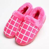 冬季时尚格子包跟棉拖鞋男人情侣居家保暖女家居冬天棉拖鞋 36/37适合35-36穿