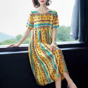 2018夏季新款女装宽松显瘦印花重磅真丝连衣裙桑蚕丝中长款