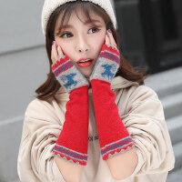 韩版学生长款羊毛混纺毛线麋鹿半指袖套针织保暖可爱手套女
