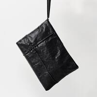 男士手包大容量商务牛皮手拿包潮软皮手抓包休闲信封男包 黑色(可装ipad)