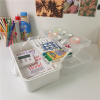 韩国ins风桌面塑料收纳盒学生宿舍手帐胶带文具大容量多层收纳箱