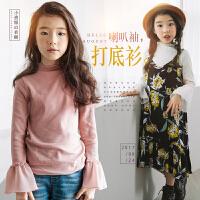 女童打底衫2017秋冬新款韩版中大童纯棉喇叭袖上衣儿童长袖打底衫