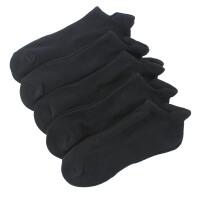 男士运动毛巾底跑步短袜 四季加厚棉短筒吸汗低帮篮球袜子 M17232毛巾底耳朵纯黑5双 加厚 均码