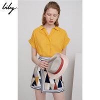Lily春夏新款女装时尚通勤亮色系宽松短袖套头衬衫