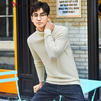 柒牌2017秋冬款半高领纯色毛衣格子纹理韩版套头针织衫羊毛衫男