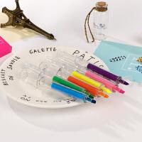针管式荧光笔 日式三角笔杆彩色标记学生用笔 粗划重点记号笔